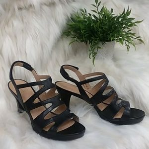 Naturalizer black caged heels size 9.5W EUC